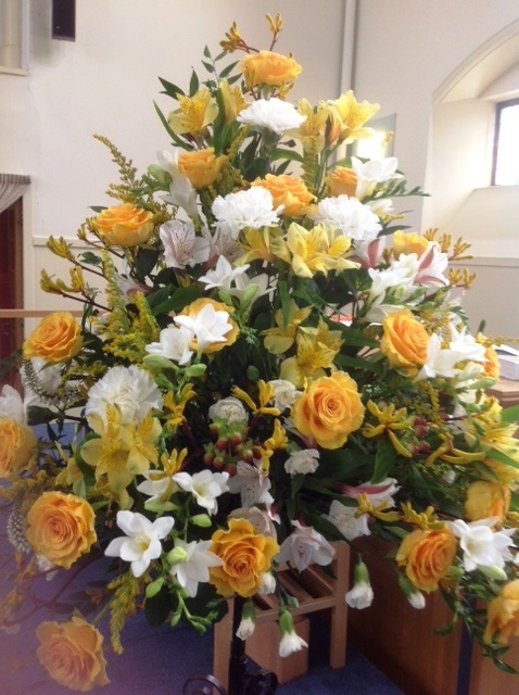 photo of flowers in the sanctuary